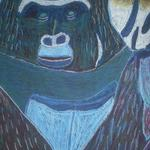 """Gorilla"" medium is pastels and was done as a project for an art class.  It is one of the pieces in the traveling exhibit and its vivid colors and texture make it a favorite of viewers.  We have created note cards for use of this image for birthday invitations and several other events."
